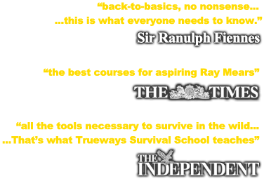 Survival training references from Sir Ranulph Fiennes, The Times newspaper and The Independent Newspaper